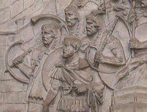 Roman soldiers on the cast of Trajan's Column in the Victoria and Albert museum, London.