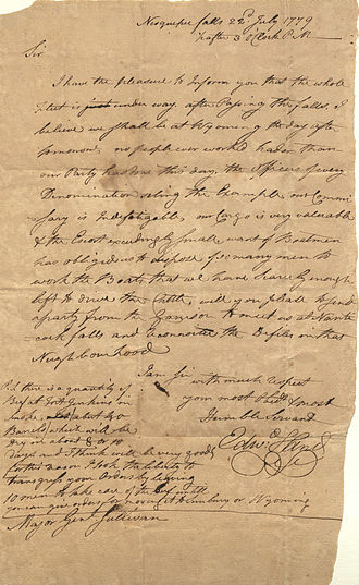 Edward Hand - Letter from General Edward Hand,1779