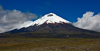 Cotopaxi stratovolcano in the Andes Mountains