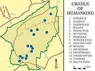 A map of the Cradle of Humankind with 15 blue dots indicating various fossil-bearing caves. Paranthropus is known from Kromdraai, Swartkrans, Sterkfontein, Gondolin, Cooper's, and Drimolen Caves