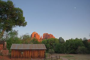 Red Rock, Yavapai County, Arizona - Cathedral Rock over the old mill at Crescent Moon picnic area