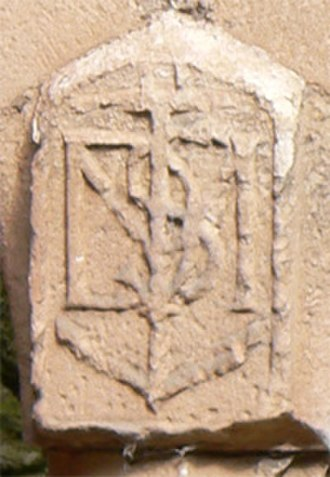 Francis Stewart, 5th Earl of Bothwell - Carved monogram of Admiral Francis Stewart and Margaret Douglas, Crichton Castle