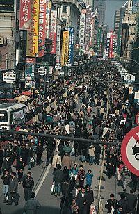 A crowded Nanjing Road in Shanghai.