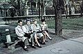 Csoportkép 1942-ben a Szilágyi Erzsébet fasornál. Fortepan 61656.jpg