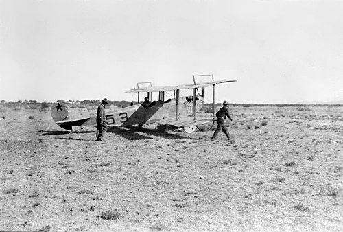 S.C. No. 53, a JN3 of the 1st Aero Squadron, at Casas Grandes, Mexico Curtiss JN-4 at Casa Grandes 1916.jpg