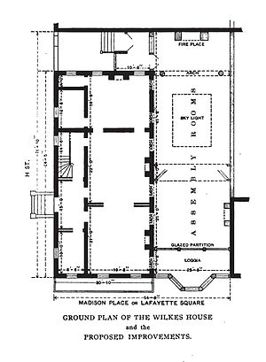 Cutts–Madison House - Plans for the renovations of the first floor of the Cutts–Madison House, made by the Cosmos Club in 1886.