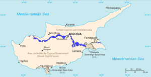 Buffer zone - Map of the current buffer zone in Cyprus