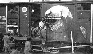 Romanian Volunteer Corps in Russia - Railroad car used as quarters by the Czechoslovak Legion in Russia