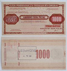 Obverse And Reverse Side Of Traveller S Cheque National Bank Poland Nominal Value 1000 Polish Złoty Sold In April 1989 Budapest Hungary