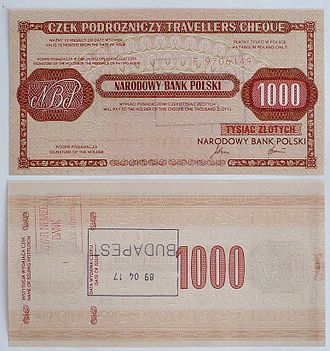 Traveler's cheque - Obverse and reverse side of traveller's cheque of National Bank of Poland (nominal value: 1000 Polish złoty); sold in April 1989 in Budapest (Hungary), for use during travel to Poland only, never used.