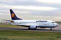 D-ABIT 1 B737-530 Lufthansa (football nose) MAN 25JAN06 (6314300405).jpg