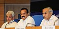 D.V. Sadananda Gowda addressing a press conference, in New Delhi on September 08, 2014. The Minister of State for Railways, Shri Manoj Kumar Sinha and the Chairman, Railway Board, Shri Arunendra Kumar are also seen.jpg