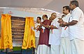 D.V. Sadananda Gowda unveiling the plaque to lay the foundation stone of State Academy of Statistical Administration (SASA), at Kaimanam, in Thiruvananthapuram, Kerala.jpg