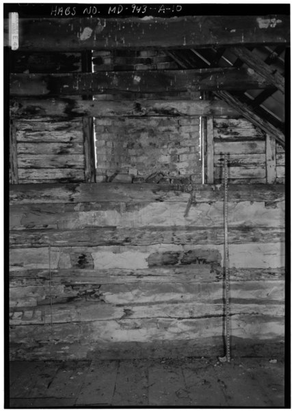 File:DETAILED INTERIOR VIEW SECOND FLOOR SOUTHEAST WALL AND CHIMNEY, WITH SCALE - Otto Farm, House, Burnside Bridge Road, Sharpsburg, Washington County, MD HABS MD,22-SHARP.V,33-A-10.tif
