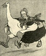 Cartoon image in black and white of a man dressed in a long black dress with a white apron, running with his arm over the back of a pantomime goose that is running alongside him