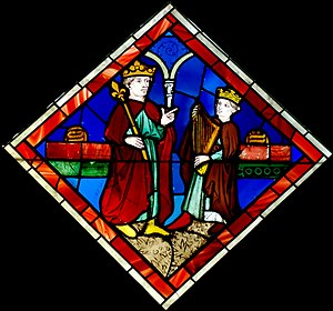 David and Saul. Stained glass, Paris, 15th cen...