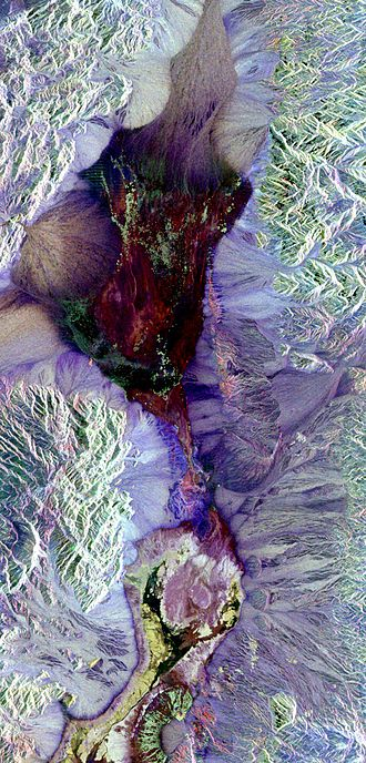 Polarimetry - Synthetic aperture radar image of Death Valley colored using polarimetry.