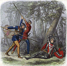 red-coated soldier lies half-prone propped against a tree with two other soldiers attacking with weapons against a forest background with a horse running off