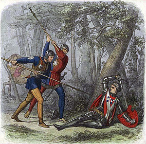 "Edmund Evans - ""Death of the Kingmaker"" from Chronicle of England, colour wood-engraving by Evans, illustration by James Doyle (1864). Evans used as many as ten colour blocks for the 80 prints in the volume."
