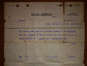 HMS Ark Royal (91) - The message sent to the ship informing her of the commencing of hostilities on 3 September 1939
