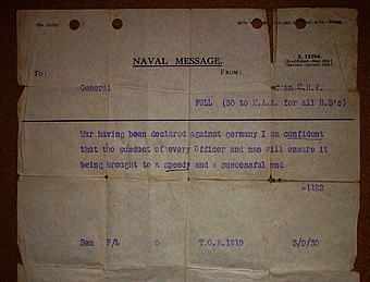 The message sent to ships of the Royal Navy informing them of the outbreak of war.