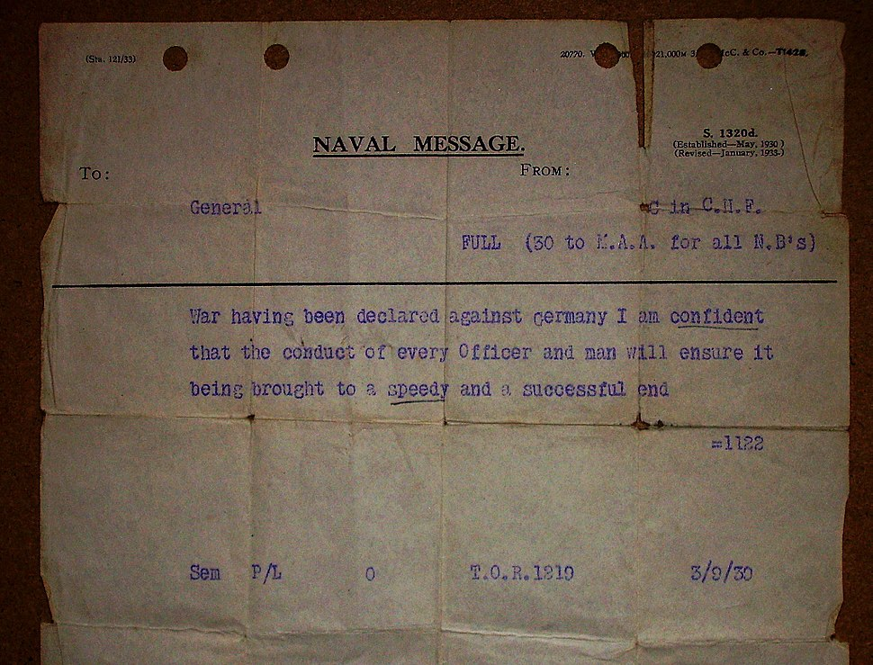 Declaration of war naval message