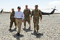 Defense.gov News Photo 110606-D-XH843-021 - Secretary of Defense Robert M. Gates and Lt. Gen. David Rodriguez 2nd from right are greeted by soldiers from Task Force Ramrod at a Forward.jpg