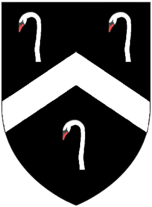 John Delbridge - Arms of Delbridge: Sable, a chevron argent between three swan's heads and necks couped proper. As seen on top of mural monument to Elizabeth Chichester (d.1628), first wife of Richard Delbridge, Merchant, son of John Delbridge (d.1639), in St Peter's Church, Barnstaple, (arms of Delbridge impaling Chichester of Hall, Bishop's Tawton)
