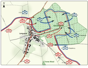 Colour map image depicting town and wood to the right of the town. Shows main access routes and positions of Allied and German forces between 18 and 20 July 1916