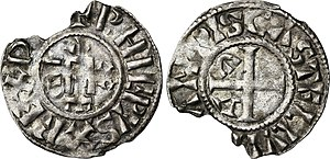 Philip I of France - 3r type denier struck during Philip I