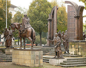 Göttingen Seven - The bronze statues of the Göttingen Seven seen near to the federal state parliament in Hanover.