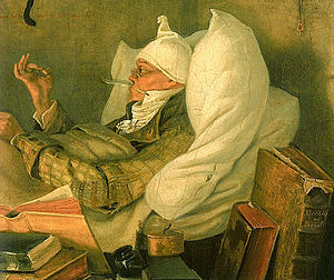 Poor Dionis - Detail of Carl Spitzweg's Poor Poet (1839), a supposed visual inspiration for Eminescu's story