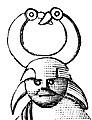 Detalj av fågelbehornad vapendansare, Torslunda (Antiqvitets Akademiens Månadsblad 1872 s089 fig39).jpg