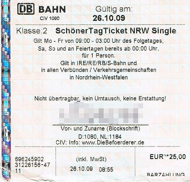 Sch nerTagTicket NRW Single