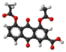 Ball-and-stick model of the diacerein molecule