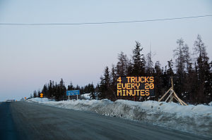 Ice Road Truckers - The beginning of the Ingraham Trail leading to the winter road Yellowknife, Northwest Territories.