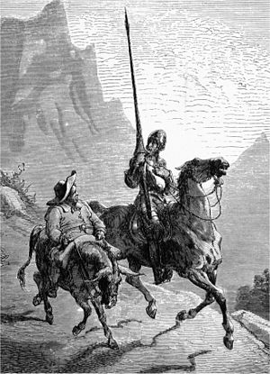 Don Quixote - Don Quixote de la Mancha and Sancho Panza, 1863, by Gustave Doré.