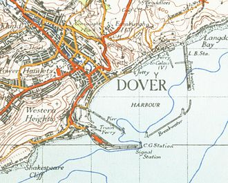 Dover - 1945 Ordnance Survey map of Dover, showing the harbour