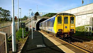 Downshire railway station - A Class 450 train departs Platform 1 in the Belfast direction, 2008.