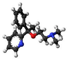 Ball-and-stick model of the doxylamine molecule