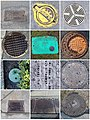 Drains and manhole covers mosaic (32179264340).jpg