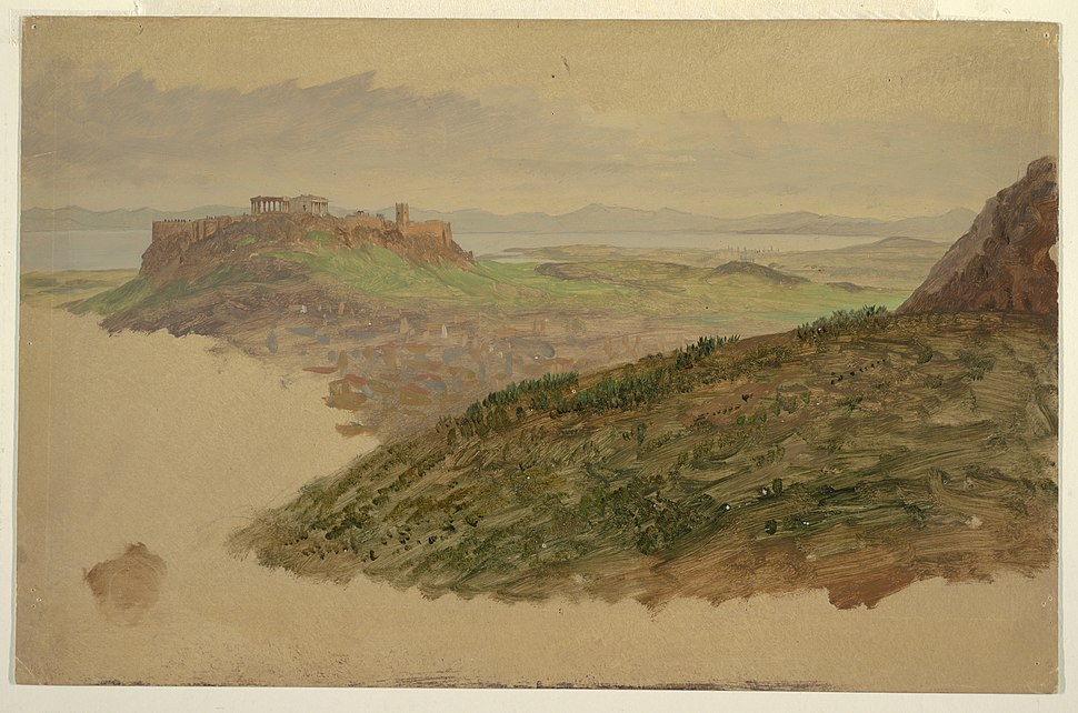 Drawing, View of the Acropolis from Mount Lycabettus, Athens, April 1869 (CH 18197455)
