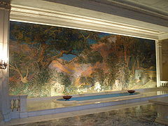 The Dream Garden, a mosaic by Louis Comfort Tiffany based on a Parrish painting. It may be seen at the Curtis Building in Philadelphia.