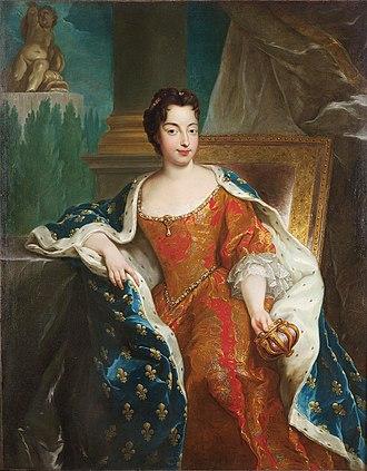 Maria Anna Victoria of Bavaria - Posthumous portrait holding the coronet of a Dauphine, François de Troy