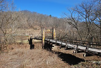 National Register of Historic Places listings in Gilmer County, West Virginia - Image: Duck Run Suspension Bridge