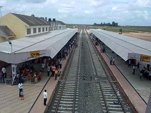 Jasidih–Dumka–Rampurhat line - Dumka railway station seen from foot overbridge