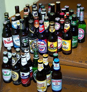 Assortment of beer bottles
