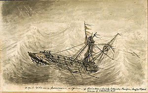 E. J. Kellow, HMS Dido in a hurricane or cyclone, off Raiatea (Society Islands) Pacific, Janry 21st 1856.jpg