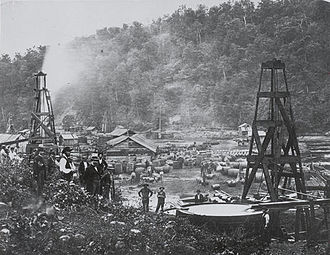 Oil well - an early oil field exploitation in Pennsylvania, around 1862