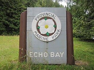 Echo Bay Marine Provincial Park - Echo Bay Provincial Park sign
